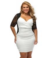 ブラック ホワイト シャーリング レース イリュージョン 大きいサイズ ドレス cc61318-1