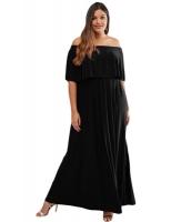 ブラック 大きいサイズ フリル オフショルダー ドレス cc61320-2