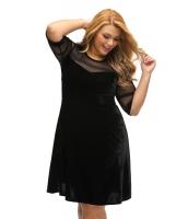 大きいサイズ メッシュ入り ブラック ベルベット スイング ドレス cc61329-2