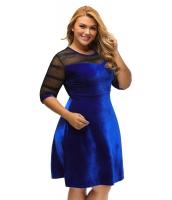 大きいサイズ メッシュ入り ブルー ベルベット スイング ドレス cc61329-5