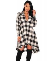 ブラック ホワイト 格子・縞模様 フレア ハイロー ブラウス ドレス cc61339-1