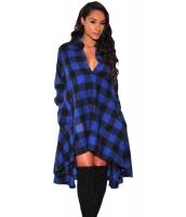 ブルー ブラック 格子・縞模様 フレア ハイロー ブラウス ドレス cc61339-5
