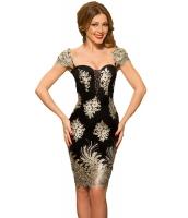 ゴールド 刺繍 パフスリーブ ブラックショート ドレス cc61356-2