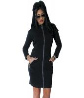 ブラック フル-長さ ジップ フロント ハイ ネック 長袖 ドレス cc61366-2