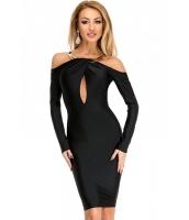 ゴールド ネックレス アクセント ブラック ミディ パーティー ドレス cc61368-2