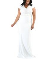 ホワイト ラインストーン フロント ボディ スカラップ ネックライン 大きいサイズ ドレス cc61376-1
