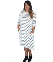 ホワイト グリーン 七分丈袖 ストライプ ルーズフィット 大きいサイズ ドレス cc61390-1p