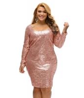 シャンパン シークイン 大きいサイズ 長袖 ドレス cc61423-18