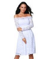 ホワイト 長袖 花柄 レース ボートネック カクテル スイング ドレス cc61427-1