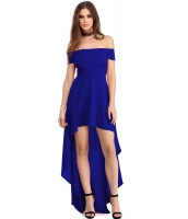 ブルー ハイロー 裾周り オフショルダー パーティー ドレス cc61437-5