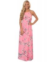 ピンク 花柄 ボヘミアン お祭り マキシ ドレス cc61451-10
