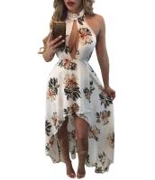 ホワイト 花柄 プリント ハイロー ホルターネック マキシ 自由奔放 ドレス cc61452-1