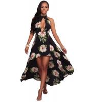 ブラック 花柄 プリント ハイロー ホルターネック マキシ 自由奔放 ドレス cc61452-2