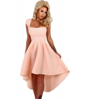 ピンク ストライプ ディップ 裾周り ミディ スイング ドレス cc61470-10