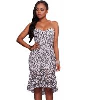 ホワイト ブラック 刺繍 レース マーメイド ミディ パーティー ドレス cc61475-22