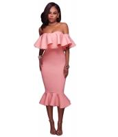 【即納】ピンク フリル オフショルダー マーメイド ミディ パーティー ドレス  tk-cc61486-10-l-pk