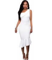 ホワイト シングルショルダーフリル パーティー ドレス cc61490-1