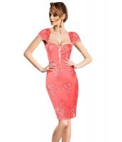 ピンク 刺繍 キャップスリーブ ボディコン パーティー ドレス cc61493-10