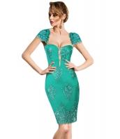 グリーン 刺繍 キャップスリーブ ボディコン パーティー ドレス cc61493-9