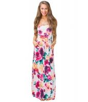 美しい 花柄 プリント ノーストラップ マキシ 自由奔放 ドレス cc61496-1022