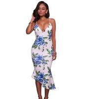 ホワイト ブルー グリーン 花柄 プリント ハイロー ドレス cc61499-22