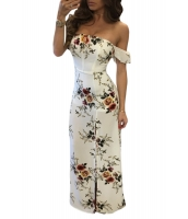 ホワイト 花柄 オフショルダー 半袖 マキシ ドレス cc61522-1