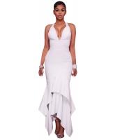 ホワイト クロス バック 非対称 裾周り マキシ ドレス cc61524-1