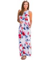 ホワイト 花柄 袖なし ロング ボヘミアン ドレス cc61531-1