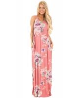 ダスティピンク 花柄 袖なし ロング ボヘミアン ドレス cc61531-10
