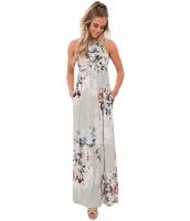 トープ色 花柄 袖なし ロング ボヘミアン ドレス cc61531-11