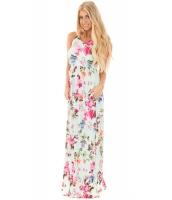 ライト ミント 花柄 袖なし ロング ボヘミアン ドレス cc61531-9