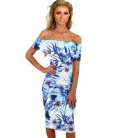 ブルー & ホワイト 花柄 バルドー ボディコン ミディ ドレス cc61536-4