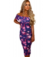 ブルー & ピンク 花柄 バルドー ミディ ドレス cc61536-5
