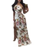 ホワイト 花柄 ハイ ネック オープン バック スプリット マキシ ドレス lc61539-1