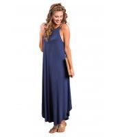 ブルー セクシー シック ノースリーブ・袖なし 非対称 トリム マキシ ドレス cc61547-5