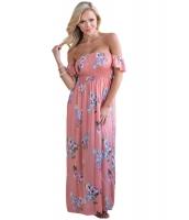 ピンク 花柄 プリント エラスチック ベアトップ オフショルダー 自由奔放 マキシ ドレス cc61552-10