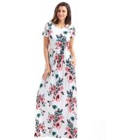 ポケット デザイン 半袖 ホワイト 花柄 マキシ ドレス cc61560-1