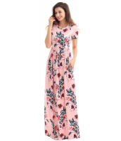 ポケット デザイン 半袖 ピンク 花柄 マキシ ドレス cc61560-1010