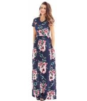 ポケット デザイン 半袖 ネイビー ブルー 花柄 マキシ ドレス cc61560-105