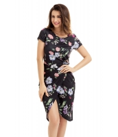 シック サイド結び ラップ ブラック 花柄 ドレス cc61563-2