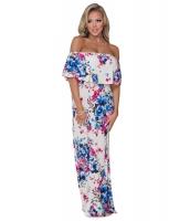 ブルー ローズ 花柄 オフショルダー ロング 自由奔放 ドレス cc61585-1