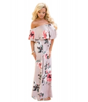 花柄 グレーピンク グラウンディング オフショルダー ロング ボヘミアン ドレス cc61585-10