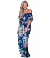花柄 プリント ブルー グランド オフショルダー ロング 自由奔放 ドレス cc61585-5