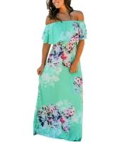 花柄 プリント ミント グランド オフショルダー ロング 自由奔放 ドレス cc61585-9