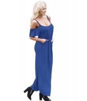 ブルー サッシー オープンショルダーマキシ ドレス cc61588-5