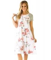ホワイト バックドロップ 花柄 Aライン ルーズ Tシャツ ドレス cc61596-1