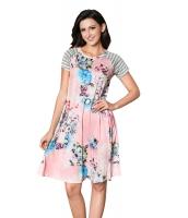 ピンク バック 花柄 プリント Aライン ルーズ Tシャツ ドレス lc61596-10