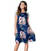 ブルー バック 花柄 プリント Aライン ルーズ Tシャツ ドレス lc61596-5