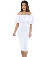 ホワイト レイヤー フリル オフショルダー 曲線美 ドレス cc61611-1