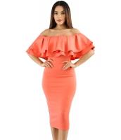 オレンジ レイヤー フリル オフショルダー 曲線美 ドレス cc61611-14